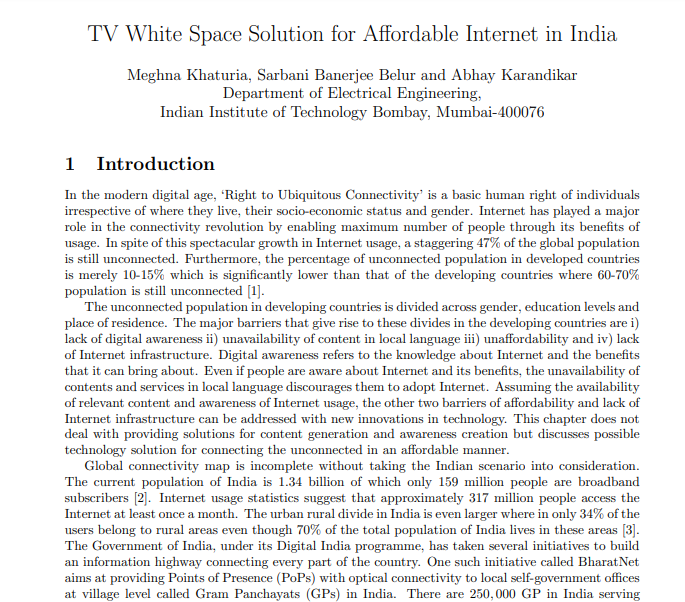 TV White Space Solution for Affordable Internet in India